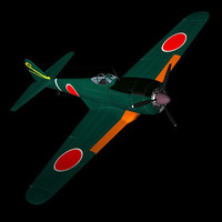 3ds max japanese ww2 fighter plane
