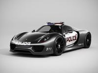 3d model porsche 918 spyder police