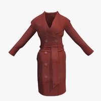 3d womans red winter coat