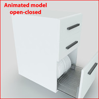 3d plate rack drawer model