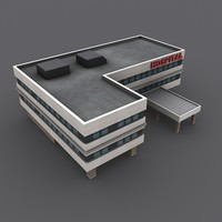 low-poly hospital building 3d obj
