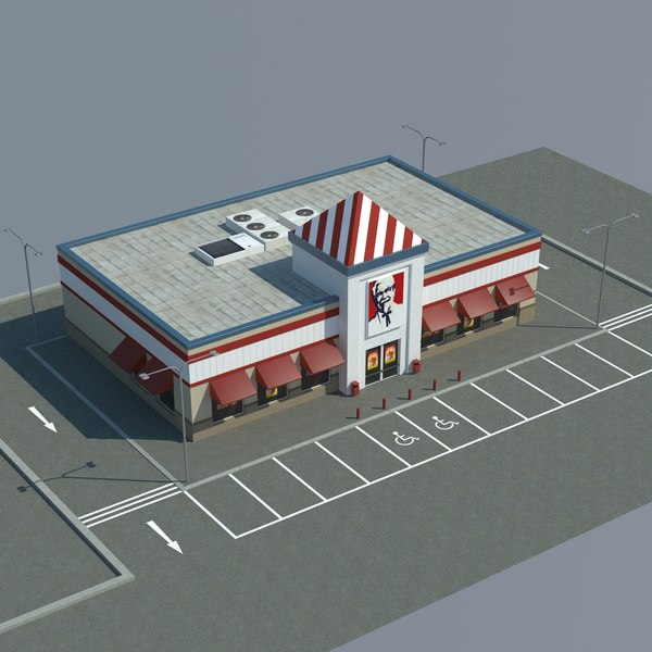 3d model kfc parking - KFC with Parking... by mmvis