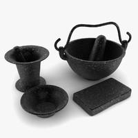 3d model utensils old