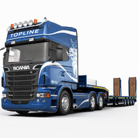 3ds max scania r730 platform trailer