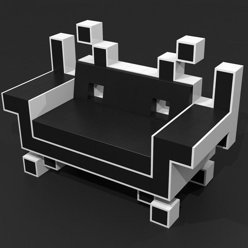 3d model of couch space invaders. Black Bedroom Furniture Sets. Home Design Ideas