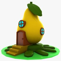 cartoon pear house 3d model