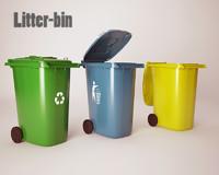 plastic litter bin 3d 3ds