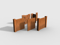 3d kit wooden fences set