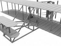 flyer wright plane 3d obj