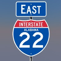 3D Alabama Interstate 22 Signs