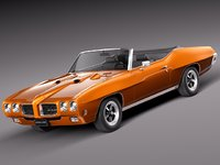 muscle car convertible pontiac 3d model