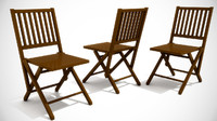 3d antique folding wooden chair
