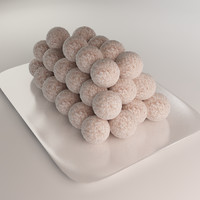 cakes balls coconut 3d model