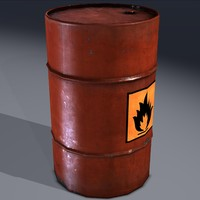 3d industrial barrel flammable explosive