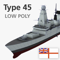 type 45 destroyer low-polygon 3d model