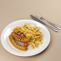 sausages french fries 3d model