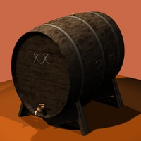 3d model antiquated wine barrel storage
