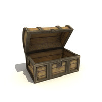 3ds max wooden chest low-poly