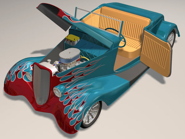 3d 34 roadster hot rod - 34 Roadster Flame Hot Rod smv8 4brl... by iw43d