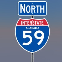 interstate 59 signs alabama 3d c4d