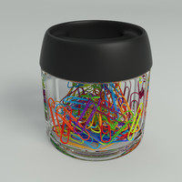 Colored Paper Clips in Glass Holder