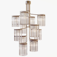Van den Akker - Large twelve light hanging glass chandelier