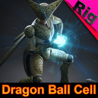 3d model dragon ball cell rigged