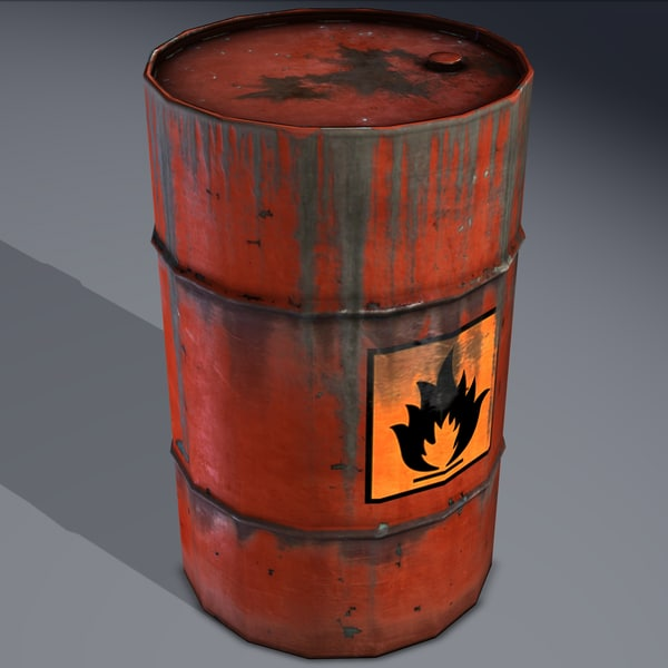 barrel flammable explosive obj - Barrel, explosive, flammable, oil, old. Game ready!... by beyond3D