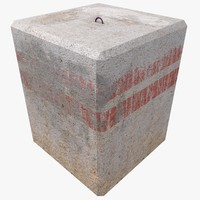 square concrete block 3d 3ds