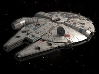 3d model movie millenium falcon space ship