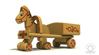 3d model unique wooden toy horse trailer