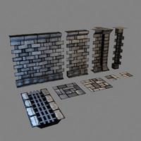 set modular dungeons walls 3d max
