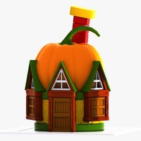 3d model cartoon pumpkin house