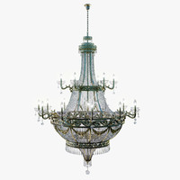 3d model ornate chandelier gold