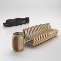 bench trash 3d 3ds