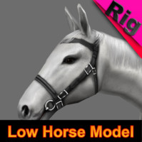 horse gray rigged 3d model