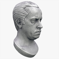 human male bust sculpture 3d model