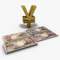 3d model yen banknotes