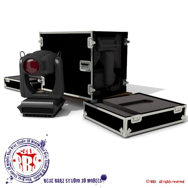 flight case heads spot light obj - Flight case with Spot moving heads... by BraZ