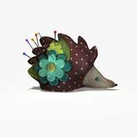 3d hedgehog pin cushion model