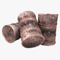 rusty oil barrels 3d model