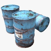 3d rusty oil barrels