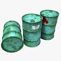 3d model rusty barrels
