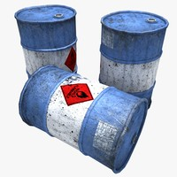 3d model rusty gasoline barrels