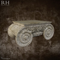 Distressed Ionic Capital Coffee Table