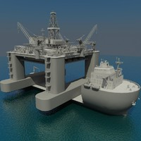 oil platform heavy lift 3d model