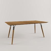 tables wood steel 3d model
