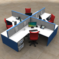 cubicle desk 3d fbx