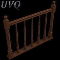 3d wooden baluster model