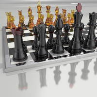 3d obj chess king queen